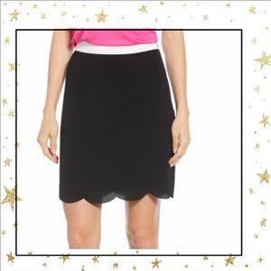 Gibson Scallop hem black skirt/ white waist (C5)